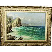 Vintage oil on canvas painting Capri by Italian Artist Michele Federico