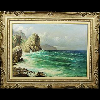 Vintage oil on canvas painting Capri by Italian Artist Michele Federico
