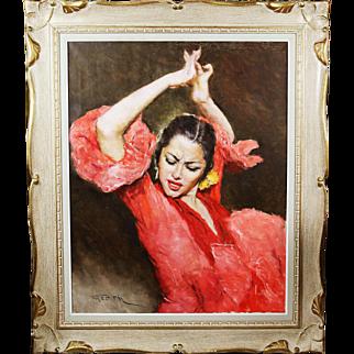 Hungarian American Artist Fried Pal signed O/Canvas Painting Fandango