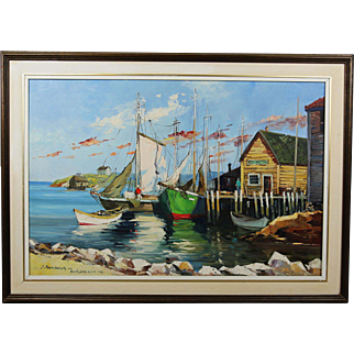 BOUTILIERS COVE Oil on Canvas painting by Hungarian Canadian artist Gyula Marosan 1915-2003