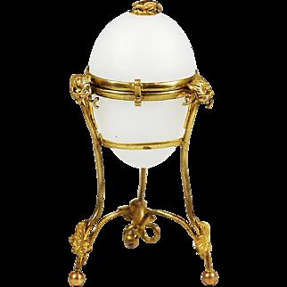 Antique French white opaline gilt ormolu hinged Egg Box Palais Royal souvenir