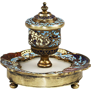 Antique French Inkwell bronze champleve enamel on marble base cloisonne