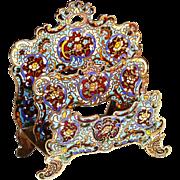 Antique French enamel bronze champleve cloisonne desk Letter mail holder