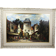 Oil on canvas painting by listed artist Dutch H Breedveld 1918- OLD TOWN