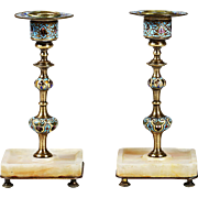 Pair Antaque French champleve cloisonne bronze candle holders on white onyx base