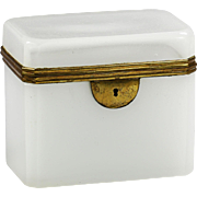Antique French white opaline glass Trinket or Jewelry Box hinged Casket