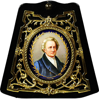 Antique miniature portrait Johann Goethe painting on porcelain in bronze frame