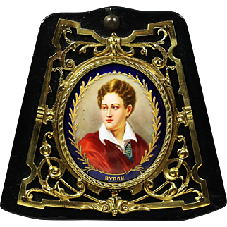 Antique miniature portrait of George Byron painting on porcelain in bronze frame