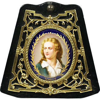 Antique miniature portrait Friedrich Schiller painting porcelain in bronze frame