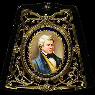 Antique miniature portrait Walter Scott painting porcelain in bronze frame