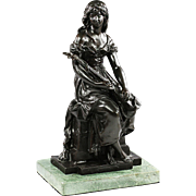 Bronze Figurine after Hippolyte Francois Moreau Woman with Lute scalpture
