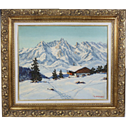 Oil on artist board painting by Austrian artist Maximilian Strasky 1895-
