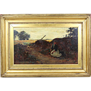 Antique oil canvas painting by French artist G.Courbet 1819-1877 art work signed