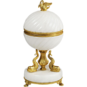 Large white onyx hinged trinket jewelry Box pedestal w/ dolphin supports ormolu