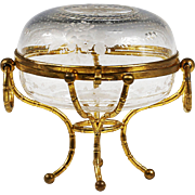 Antique French Baccarat crystal hinged jewelry Box w/ gilt bronze bamboo mounts