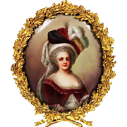 Marie Antoinette miniature painting on porcelain signed framed in gilt bronze frame