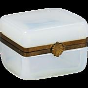 French Bulle de Savon white opaline glass hinged Box gilt bronze mounts