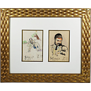 Pair of vintage watercolour whimsy Jewish Judaica paintings signed Z.Q. Kotomyja 1937
