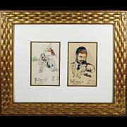 Pair of vintage watercolour whimsy Jewish Judaica paintings signed Z.Q. Kotomyja 1937