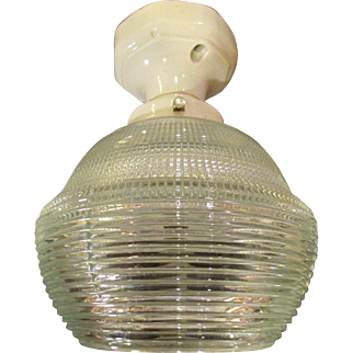 Industrial Ceiling Fixture With a Large HOLOPHANE SHADE.