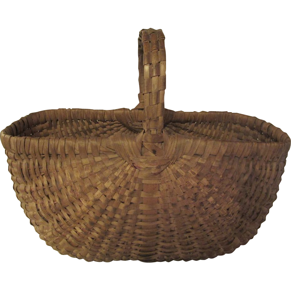 Vintage Woven Buttocks Basket From
