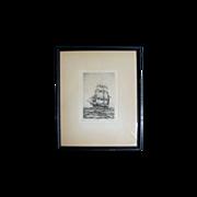 "Original Artist Proof Marine Ship Etching by C. J. A. Wilson, titled, ""Chas. W. Morgan"""