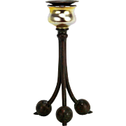 Antique Tiffany Studios Gold Favrile Glass and Bronze Candlestick