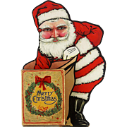 Vintage Cardboard Santa Display with Candy Container Box ca1920