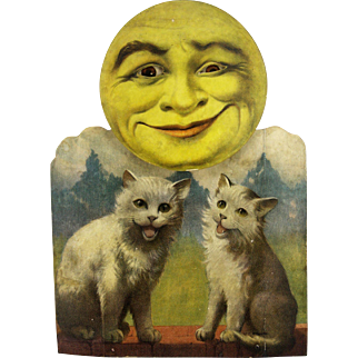 Antique Rare German Clockwork Wind Up Moon Face with Kittens ca1900