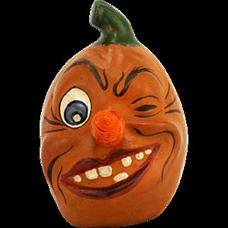 Antique German Halloween Pumpkin Head Candy Container ca1920