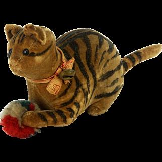 Antique Velveteen Steiff Cat with Toy ca1900
