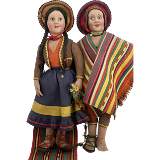 """Large 28"""" Early Pair of Antique Felt Dolls ca1915"""