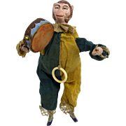 Antique German Bisque Head Monkey Pull String Toy ca1910