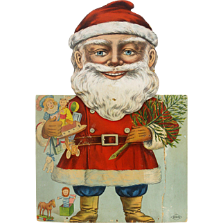 Antique Clockwork Wind Up Santa with Moving Eyes and Head ca1910
