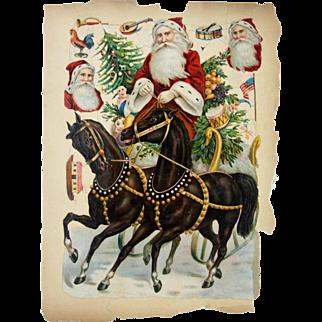 Antique German Unusually Large Santa Die Cut