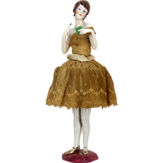 Vintage German Rare Porcelain Pin Cushion Doll ca1920
