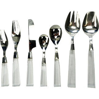 Vintage Lucite Supreme Cutlery 18-8 Stainless Flatware 59pc