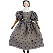 Antique German China Doll with Molded Snood ca1880
