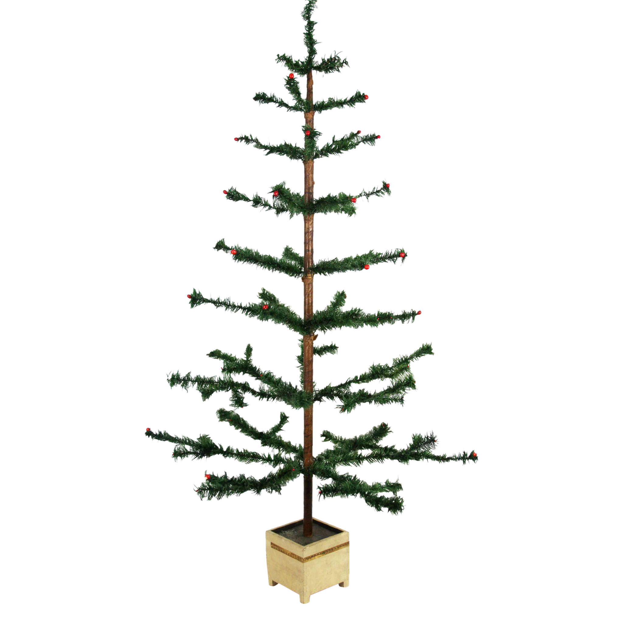 """Large Christmas Tree: Antique German Large 45"""" Feather Christmas Tree Ca1910"""