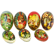 Antique German Lithographed Easter Egg Candy Containers 7pc