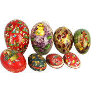 Antique German Lithographed Easter Egg Candy Containers 8pc