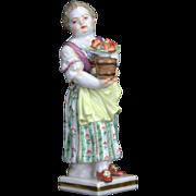 Antique Meissen Porcelain Figurine Girl with Flowers ca1850