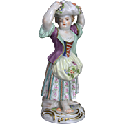 Antique Meissen Porcelain Figurine Girl with Apron and Flowers ca1850