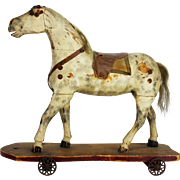 Antique Large American Wood Horse Pull Toy ca1910