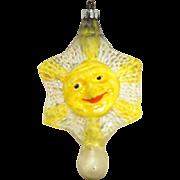 Antique German Blown Glass Sun Face Christmas Ornament ca1910