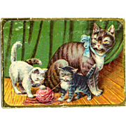 Antique Lithographed Chocolate Candy Box Cat with Kittens ca1900