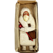 Antique German Cotton Batting and Paper Mache Santa Ornament ca1900