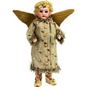 Antique German Bisque Head Christmas Angel Candy Container ca1910