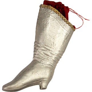 Antique German Dresden Boot Candy Bag Container Christmas Ornament ca1910
