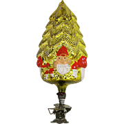 Antique German Blown Glass Gold Tree with Santa Christmas Clip Ornament ca1910
